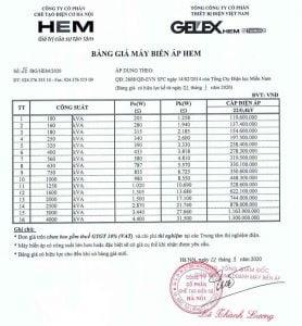 Bảng Báo Giá Máy Biến Áp Dầu HEM 2020 TC:2608