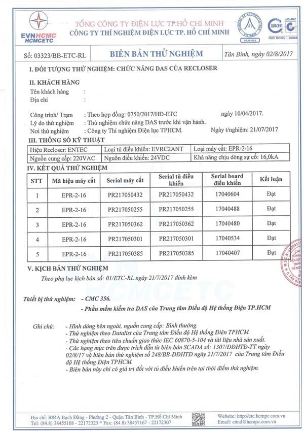 Biên Bản Thử Nghiệm Recloser Entec 27kV 630A Quatest 3