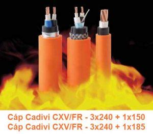 Cáp Chống Cháy CADIVI CXV/FR 3x240 + 1x150mm2, CXV/FR 3x240 + 1x185mm2