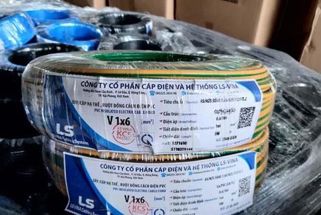 Cáp Điện Hạ Thế LS VINA CV-1x6mm2 0.6/1kV CU/PVC