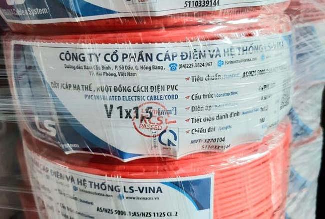 Cáp Điện Hạ Thế LS VINA V-1x1.5mm2 0.6/1kV Cu/PVC
