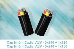 Cáp Nhôm CADIVI AVV - 3x240 + 1x120mm2, AVV 3x240 + 1x150mm2 0.6/1kV