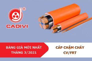 Bảng Giá Mới Nhất [3/2021]: Cáp Chậm Cháy CADIVI - CV/FRT